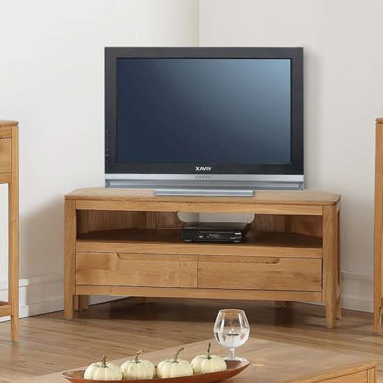 View Trimble corner tv unit in oak with 2 drawers