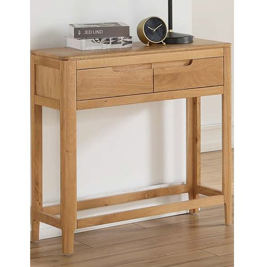 View Trimble large console table in oak with 2 drawers