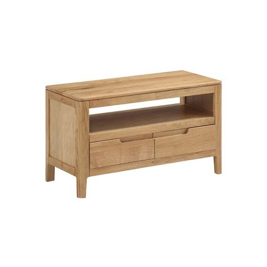 View Trimble small tv unit in oak with 2 drawers