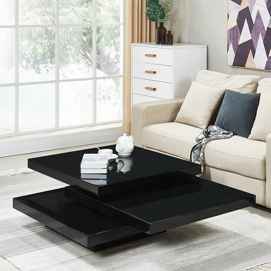 View Triplo rotating coffee table square in black high gloss