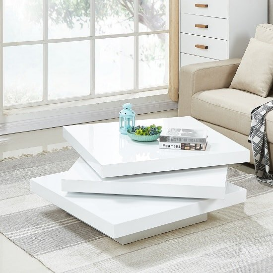 View Triplo rotating coffee table square in white high gloss