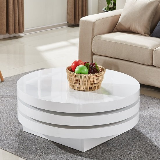 View Triplo rotating coffee table round in white high gloss