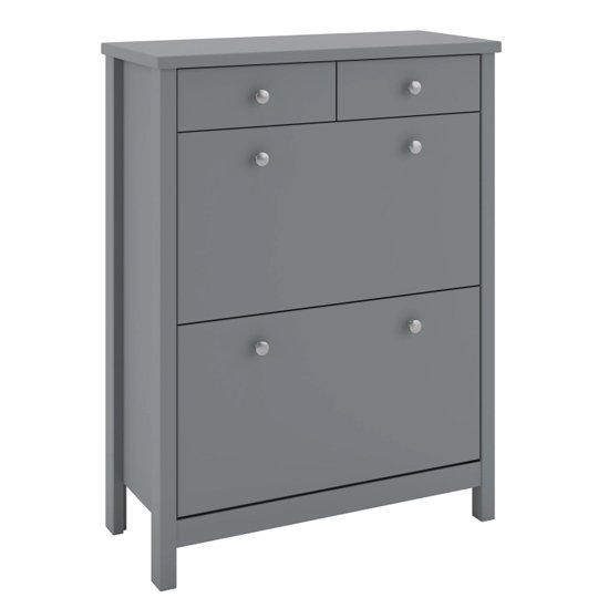 View Tromso shoe storage cabinet in grey with 4 drawers