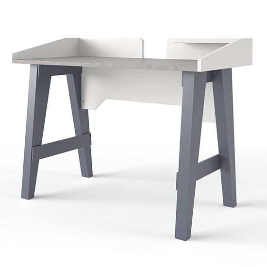 View Truro wooden computer desk in grey