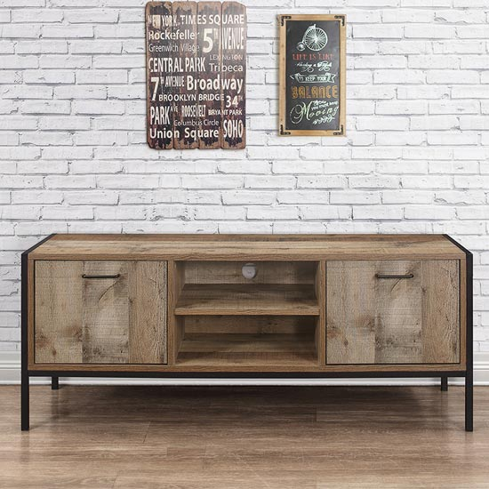 View Urban wooden tv unit in rustic