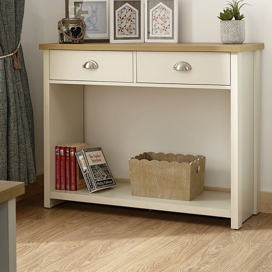 View Valencia wooden console table in cream with 2 drawers