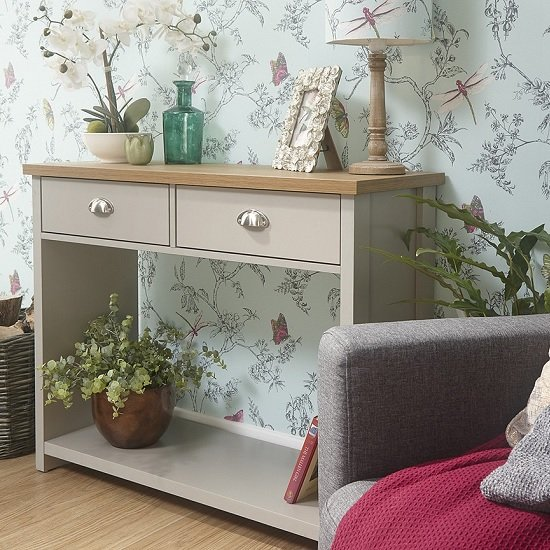 View Valencia wooden console table in grey with 2 drawers