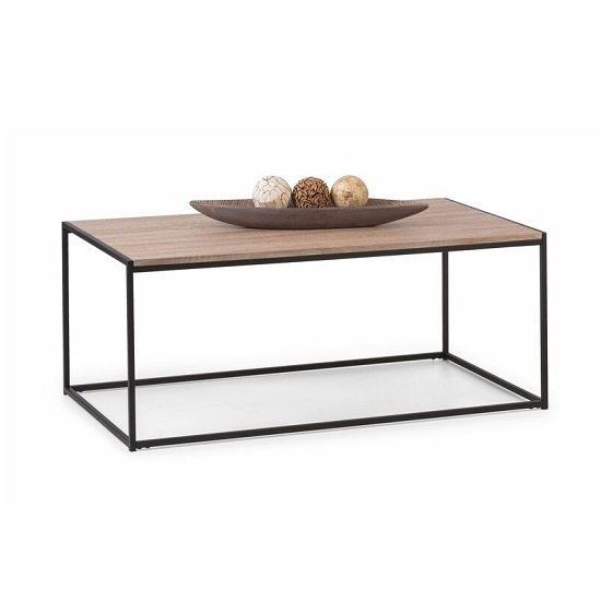 View Valencia coffee table in sonoma oak and black metal frame