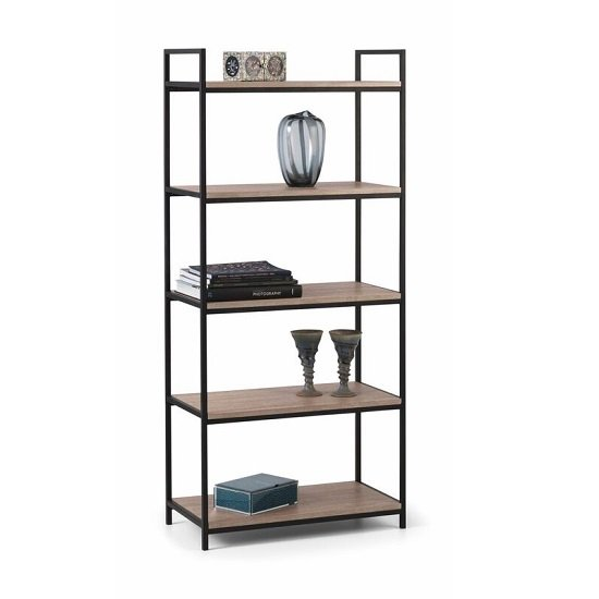 View Valencia high bookcase in sonoma oak and black metal frame