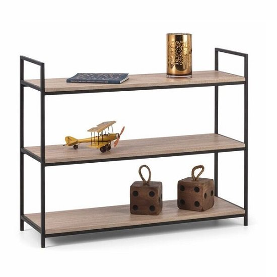 View Valencia low bookcase in sonoma oak and black metal frame