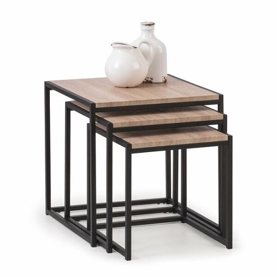 View Valencia nest of tables in sonoma oak and black metal frame