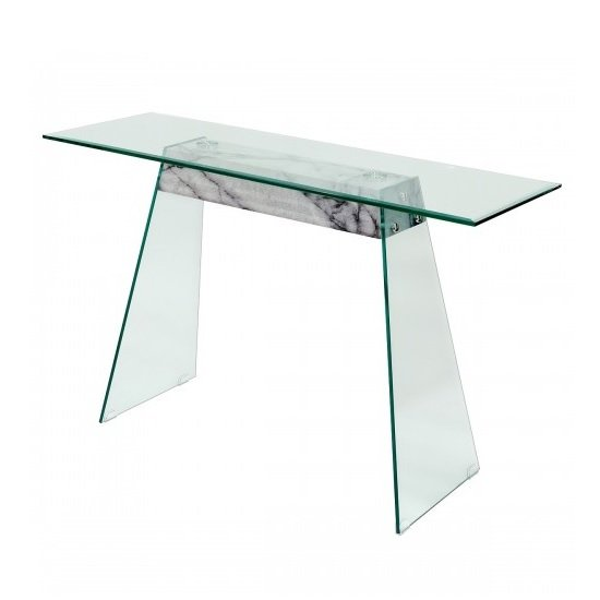 View Vancouver glass console table in clear marble effect support
