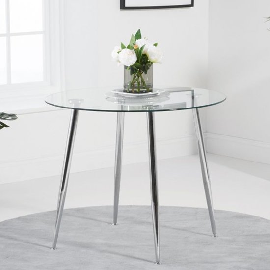 Vela Small Round Glass Dining Table With Chrome Legs 154 95 Go Furniture Co Uk