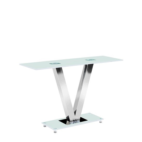 View Venus console table rectangular in frosted white glass