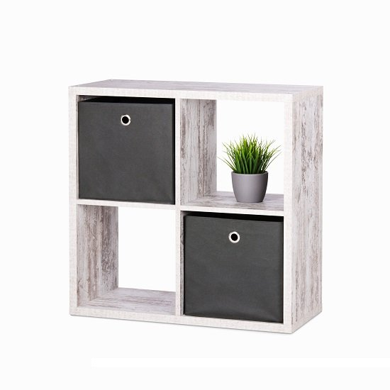 View Version cube display unit in fresco oak with 4 compartment