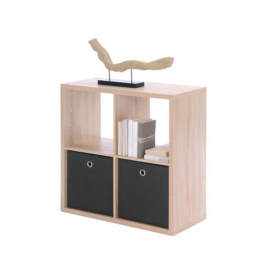 View Version cube display unit in sonoma oak with 4 compartment