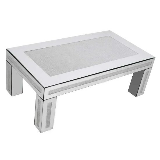 View Vicenza modern mirrored rectangular coffee table