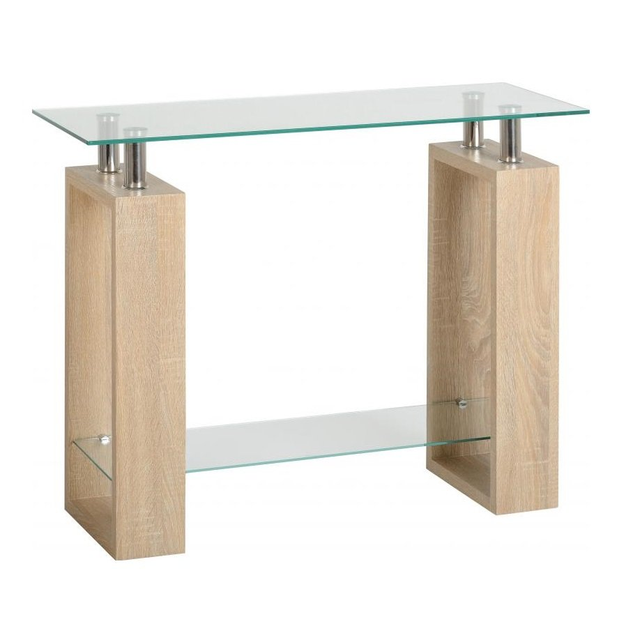 View Waddell clear glass console table with sonoma oak legs