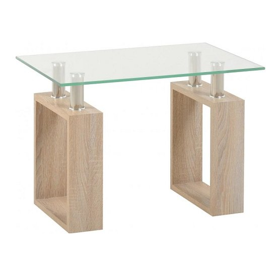 View Waddell clear glass lamp table with sonoma oak legs