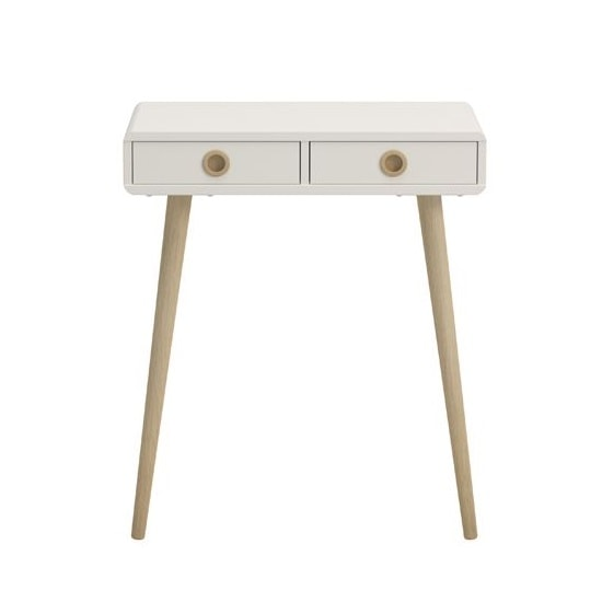 View Walton console table in white with oak legs and 2 drawers