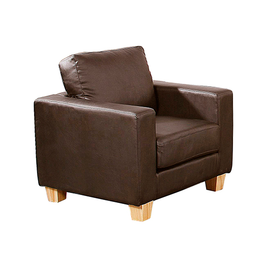 View Wasp pu leather 1 seater sofa in brown