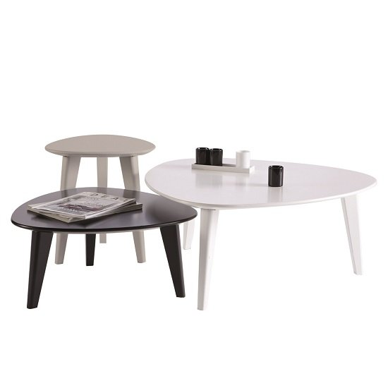 View Waverly set of 3 coffee table in white black and grey