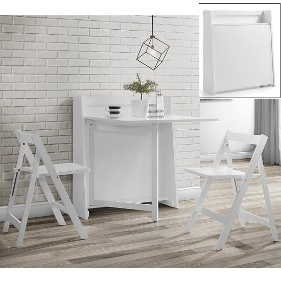 View Wembley folding console in to a dining table set in white