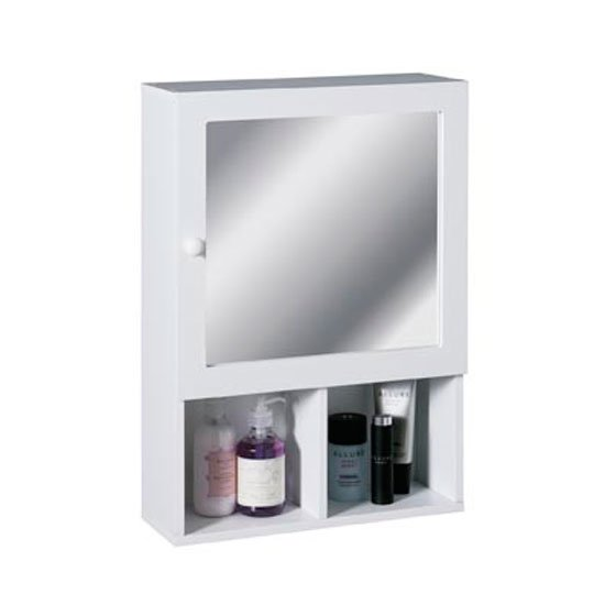 View White wood cabinet with mirror