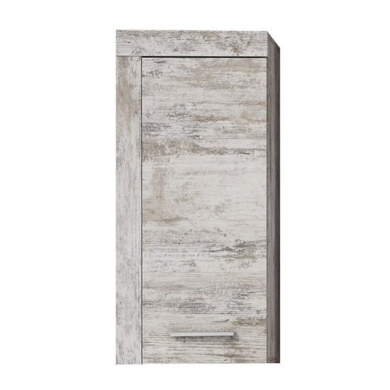 View Wildon wooden bathroom storage wall cabinet in canyon white pine