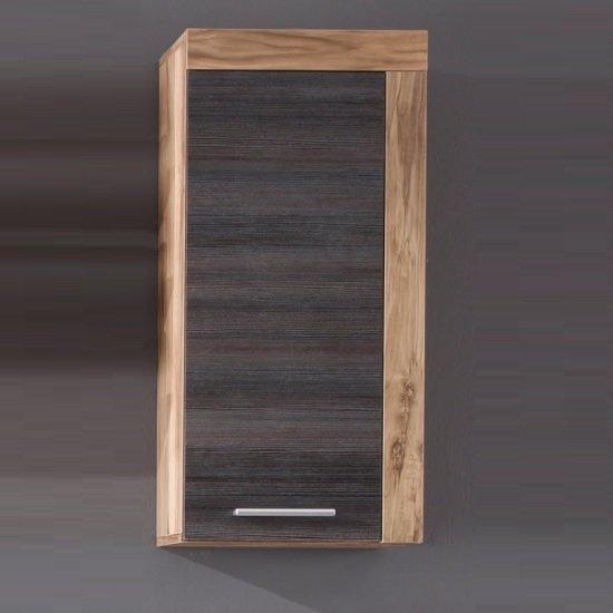 View Wildon storage wall cabinet in walnut touch wood dark brown