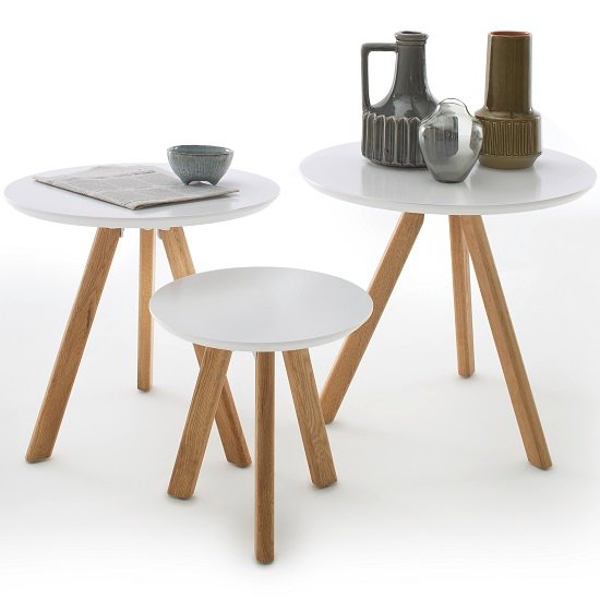 View Winifred set of 3 coffee tables in white with oak legs