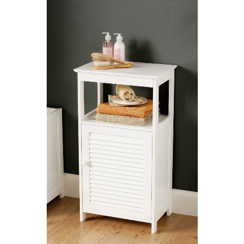 View White bathroom floor cabinet with shelf