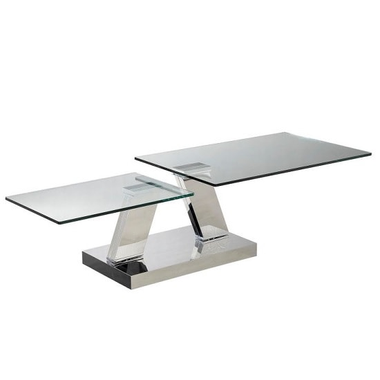 View Xavi swivel extending glass coffee table in clear