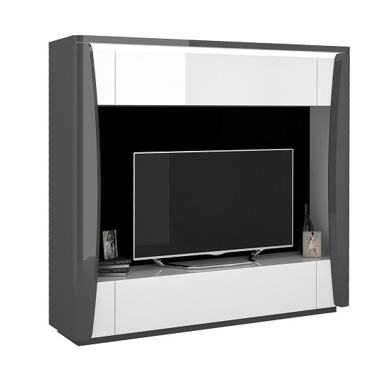 View Zaire entertainment tv unit in white and anthracite with led